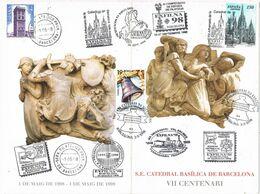 37284. Tarjeta Triptico BARCELONA 1998. EXFILNA 98. Todos Los Matasellos De La Exposicion. Catedral Barcelona - Non Classés