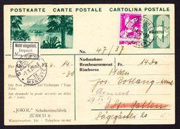 """1934 GZ Karte Mit Zusatzfrankatur Zürich St. Gallen. Retour """"NICHT EINGELÖST"""".  Rückseitig Werbung Schuhcreme Fabrik - Stamped Stationery"""