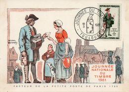 TOULOUSE (HAUTE GARONNE) : JOURNEE DU TIMBRE 1961 Oblitération Temporaire Sur CARTE POSTALE - Briefmarken