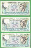 3 X 500 Lire MERCURIO 1974 Serie + Numeri Consecutivi - [ 2] 1946-… : Repubblica