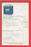 FACTURE 1926 QUINCAILLERIE CHARBON FERS GROULT ET MORELLE 8 RUE DE DOLLEE A SAINT LO STERNOLINE HUILE GRAISSE AUTOMOBILE - Cars