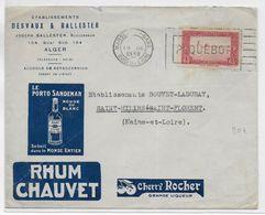 """1938 - ENVELOPPE PUB DECOREE """"ALCOOL"""" (VOIR AUSSI DOS !) De ALGER Avec MECA MARITIME """"MARSEILLE PAQUEBOT"""" => MAINE ET L. - Schiffspost"""