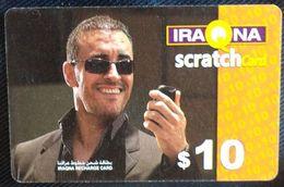 IRAQ - Iraqna - Man With Mobile $10 Scratch Card [used] - Irak