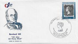 3535   FDC   Costa Rica , 1990,Rowland Hill, 150 Del Penny Black. - Costa Rica