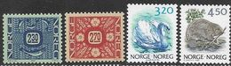 Norway  1986-90  Sc#876, 878, 881, 883B  3.20K Swan & 4.50K Beaver  MNH  2016 Scott Value $5.75 - Norwegen