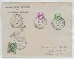 1944 - ALGERIE - LIBERATION - ENVELOPPE Du GOUVERNEMENT PROVISOIRE  => ALGER Avec TAXE POSTE RESTANTE - Cartas