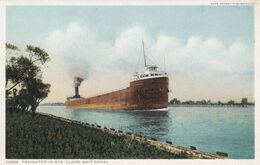 MICHIGAN, 1900-10s; Freighter In Ste. Claire Ship Canal - Etats-Unis