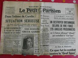 Journal Le Petit Parisien Du 18 Février 1940. Greta Garbo Norvège Combat Naval Rosny Hitler Pologne - Journaux - Quotidiens