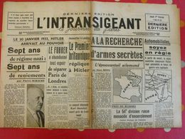 Journal L'Intransigeant Du 1er Février 1940. Fuhrer Hitler Daladier Guerre Kuhmo Russie Finlande Pologne - Journaux - Quotidiens