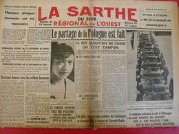 Journal La Sarthe Du Soir, Régional De L'Ouest Du 23 Septembre 1939. Partage De La Pologne Hitler Staline Varsovie Résis - Journaux - Quotidiens
