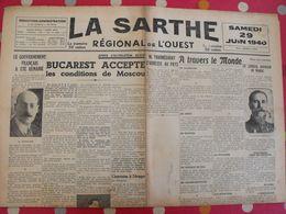Journal La Sarthe, Régional De L'Ouest Du 29 Juin 1940. Gouraud Frossard  Communiqués Allemand Et Italien. Censure - Journaux - Quotidiens