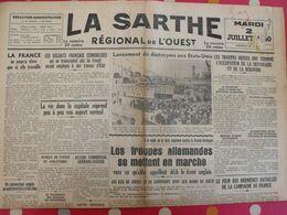 Journal La Sarthe, Régional De L'Ouest Du 2 Juillet 1940. Soldats Français Démobilisés Juifs Réfugiés Jersey Guernesey - Journaux - Quotidiens
