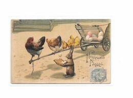 CPA Gauffrée, Fantaisie, Fête, Heureuses Paques, Lapins,poules, Poussins - Fêtes - Voeux