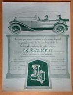 1924 Carburateur Zénith D'après Hemjic - Publicité - Publicidad
