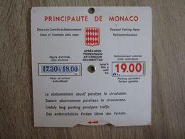 Disque De Stationnement Principauté De Monaco - Transportation