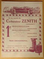 1925 Carburateur Zénith 1er Grand Prix De Vitesse De L'A.C.F.... - Publicité - Publicidad
