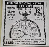 Antigua Publicidad, Cronógrafo-Taquimetro FLEURUS - Extraída De Revista 1929 - 7,5x7,5cm - Publicidad