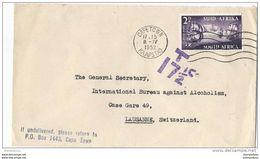 62 - 57 - Enveloppe Envoyée Capetown En Suisse 1952 - Cachet Taxe - Non Classés