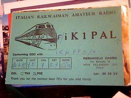 QSL CARD   RADIO AMATORE VILLANOVA ASTI ITALIAN RAILWAIMAN TRENO TRAIN V1992 HQ10063 - Radio Amateur