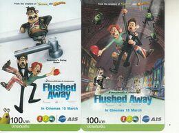 2 X Thailand Phonecard 12Call - Movie -Flushed Away Cinema - Thaïlande