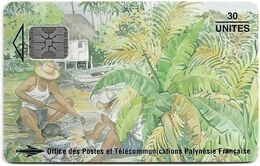 French Polynesia - OPT - Les Pêcheurs 1994 - SC5, Glossy Finish, Cn. C491xxxxx, 08.1994, 30Units, 50.000ex, Used - Polynésie Française