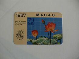 CTT Macau Macao Nelumbo Nucifera Gaertn Pocket Calendar 1987 - Calendars