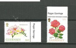 "Guernsey 1997  Flowers, Rose, Freesie ""Pink Glow"" Mi 727-728, MNH(**) - Guernesey"