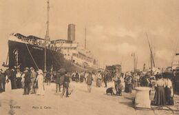 TRIESTE-MOLO SAN CARLO-BELLISSIMA ANIMAZIONE-NAVE =LEOPOLIS=CARTOLINA NON VIAGGIATA -ANNO 1910-1920- - Italy
