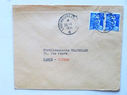 FRANCE > SUISSE // 1951, Lettre Commerc., Cachet LUXEMBOURG à BÂLE, Affr.: 2x15f MARIANNE DE GANDON, Pour BERNE - Marcofilia (sobres)