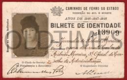 PORTUGAL - CAMINHOS DE FERRO DO ESTADO - BILHETE DE INDENTIDADE - ABATIMENTO NAS LINHAS COMBINADAS - 1916 - 1917 - 1918 - Titres De Transport