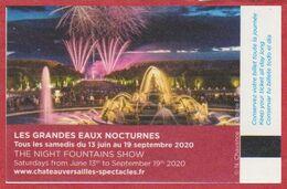Château De Versailles. Visuel Les Grandes Eaux Nocturnes. 2020. - Biglietti D'ingresso