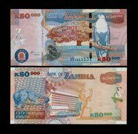 ZAMBIA 50000 (50,000) KWACHA BANKNOTE 2003 UNC P-48a Scarce!!! - Zambia