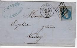 Saint-QUENTIN 02 Aisne Type 17 GC Refait 3827 1870 Napoleon YT 29 Detelure Décalée - 1849-1876: Klassik