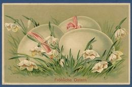 Fröhliche Ostern Ostereier Märzenbecher, Prägekarte, Gelaufen 1912 (AK3448) - Pâques