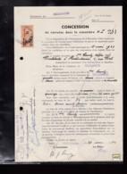 1 Timbre Dimension 4 Fr Barré  Surcharge 6 Fr  Taxe  Fiscal  Sur Acte Terrain Concession Cimetière Riedisheim Année 1940 - Fiscali
