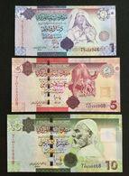 LIBYA SET 1 5 10 DINARS BANKNOTES (2009) UNC GADDAFI - Libië