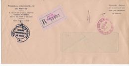 Lettre Recommandée En Franchise Postale Bureau Nantes Neptune GA Du 29/01/1975 Cachet Rouge - Marcofilie (Brieven)