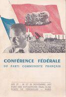 Carte De Délégué Conférence Fédérale Du Parti Communiste Français 27 28 29 Novembre 1953 Paris - Historische Documenten