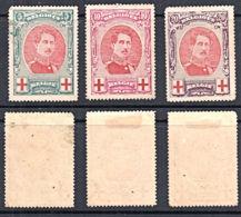 C5130 BELGIUM 1915, SG 157-9 Red Cross Fund, Croix Rouge, P14, Mounted Mint - Nuovi