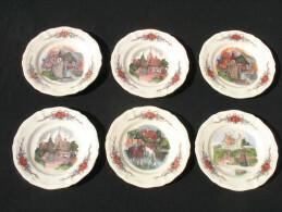 Lot De 6 Assiettes OBERNAI Faïenceries Sarreguemines France Anciennes Costumes Chevaux Maisons - Altre Collezioni