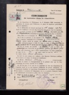1 Timbre Dimension 3,60 F  Barré  Surcharge 4f Taxe  Fiscal  Sur Acte Terrain Concession Cimetière Riedisheim Année 1934 - Fiscali