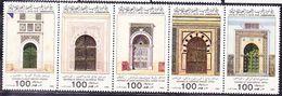 20-108 Libya 1985 Mosque Entrances Complete Strip Of 5 Mi 1591-1595 MNH ** - Mosques & Synagogues