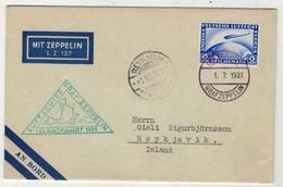 Allemagne // Deutschland // Poste Aérienne // Vol Zeppelin Pour Reykjavik  (Island) Le 1.7.1931 - Duitsland