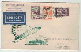 Hongrie // Poste Aérienne // Vol Zeppelin Pour Lorch (Württemberg) 1931 - Luchtpostzegels