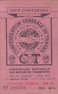Carte C G T  1954 - Personnel Air France   - Timbres - Historische Dokumente