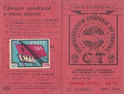 Carte C G T  1958 - Personnel Air France   - Timbres + Vignette 1er Mai 1958 - Historische Dokumente