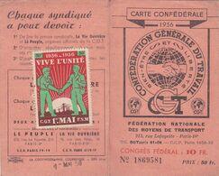 Carte C G T  1956 - Personnel Air France   - Timbres + Vignette 1er Mai 1956 Vive L'Unité - Historische Dokumente