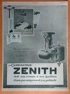1927 Carburateur Zénith - Publicité - Publicidad