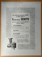1926 Carburateur Zénith En Automobile, Sur L'eau, En Aviation... - Mikiphone - Tendeur Innovation - Publicité - Publicidad