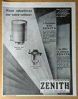1928 Carburateur Zénith D'après L. Alexandre (Epurateur D'air, Filtre à Essence) - Publicité - Publicidad